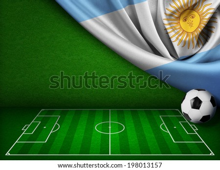 Soccer or football background with flag of Argentina - stock photo