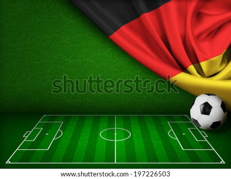 Soccer or football background with flag of Germany - stock photo