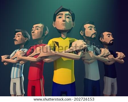 Soccer player, Football player team - stock photo