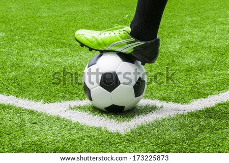 soccer player in a corner kick - stock photo