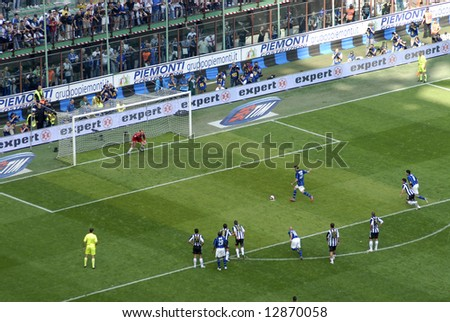 Soccer player Marco Materazzi shoots the penalty (and misses it) during the game Inter vs Siena, Meazza stadium, Milan, Italy, 05-11-2008 - stock photo