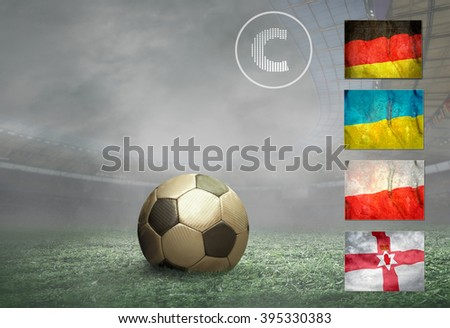Soccer player stay at field. - stock photo
