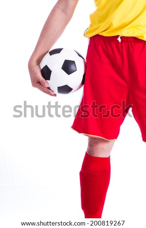 soccer player with ball in his hand on white background.  - stock photo