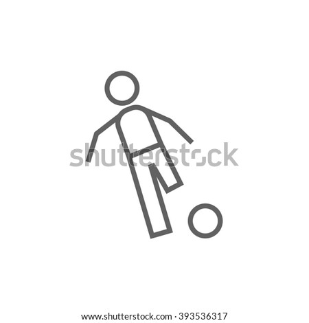 Soccer player with ball line icon. - stock photo