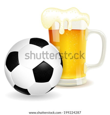 Soccer Poster with Ball and Glass of Beer, isolated on white background - stock photo