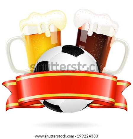Soccer Poster with Ball, Glasses of Beer and Ribbon, isolated on white - stock photo