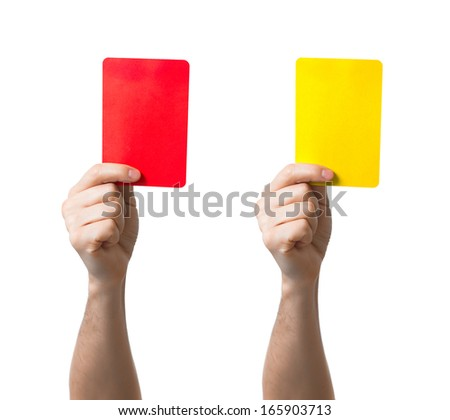 Soccer red and yellow card showing isolated - stock photo