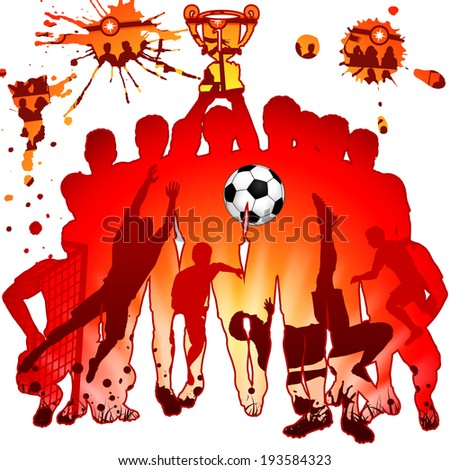 Soccer Silhouettes with Players, Fans and Winning Team, illustration - stock photo