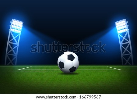 Soccer stadium, soccer ball on green stadium, arena in night illuminated bright spotlights - stock photo
