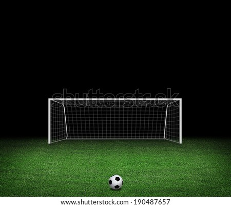 Soccer stadium, soccer ball on green stadium. 3d render - stock photo