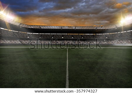 Soccer Stadium with fans wearing white uniforms - stock photo