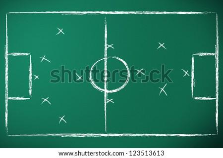 soccer tactics designed on green chalk board - stock photo