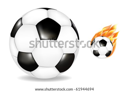 Soccerball And Burning Soccerball, Isolated On White - stock photo