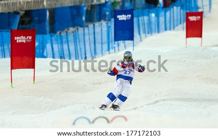 Sochi, RUSSIA - February 10, 2014: Andrey VOLKOV (RUS) at Freestyle skiing. Men's Moguls Qualification at Sochi 2014 XXII Olympic Winter Games - stock photo