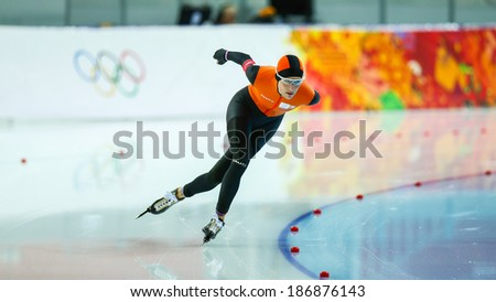 Sochi, RUSSIA - February 19, 2014: Carien KLEIBEUKER (NED) on lane during Speed Skating. Ladies' 5000 m at the Sochi 2014 Olympic Games - stock photo