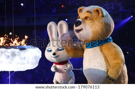Sochi, RUSSIA - February 23, 2014: Closing Ceremony in Fisht Olympic Stadium at the Sochi 2014 Olympic Games - stock photo