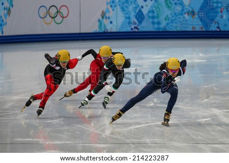 Sochi, RUSSIA - February 18, Ha-Ri CHO (KOR), No 135 at Ladies' 3000 m Heats Short Track Relay at the Sochi 2014 Olympic Games - stock photo