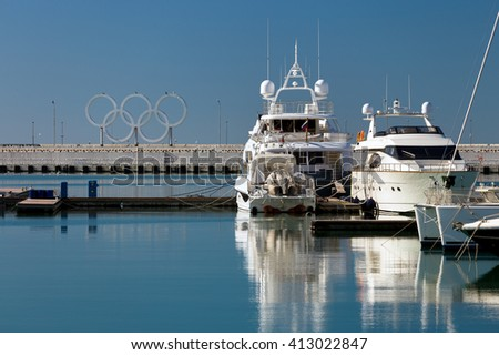 Sochi, Russia - February 9, 2016: Luxury Yachts And Boats In Port Sochi At The Black Sea. - stock photo