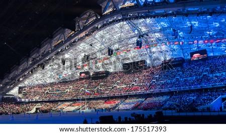 Sochi, RUSSIA  February 7, 2014: Opening ceremony of Sochi 2014 XXII Olympic Winter Games - stock photo
