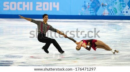 Sochi, RUSSIA - February 11, 2014: Paige LAWRENCE and Rudi SWIEGERS (CAN) on ice during figure skating competition of pairs in short program at Sochi 2014 XXII Olympic Winter Games - stock photo
