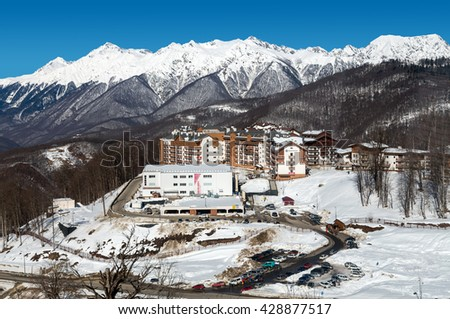 Sochi, Russia - February 10, 2016: Rosa Khutor Alpine Resort. Krasnaya Polyana, Krasnodar region, Sochi, Russia. Constructed from 2003 to 2011 - stock photo