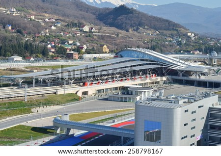 Sochi, Russia - February 6, 2015: Sochi Autodrom Formula 1 Russian Grand Prix 2014. Every motorsport fan is able to drive using his own car during track days, on the weekends at Sochi Autodrom - stock photo