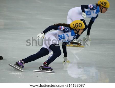 Sochi, RUSSIA - February 18, Sofia PROSVIRNOVA (RUS), No 150 at Ladies' 3000 m Heats Short Track Relay at the Sochi 2014 Olympic Games - stock photo