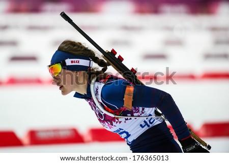 Sochi, RUSSIA - February 9, 2014: Synnoeve SOLEMDAL (NOR) at Biathlon Women's 7.5 km Sprint at Sochi 2014 XXII Olympic Winter Games - stock photo