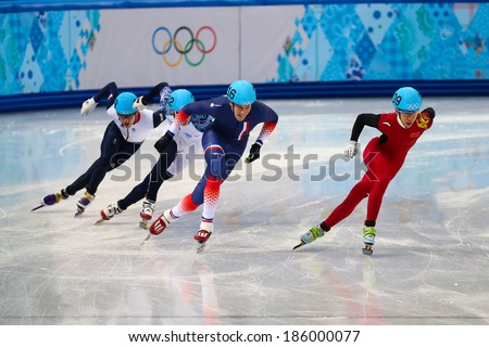 Sochi, RUSSIA - February 18, 2014: Tianyu HAN (CHN), No209 at Men's 500 m Short Track Heats at the Sochi 2014 Olympic Games - stock photo
