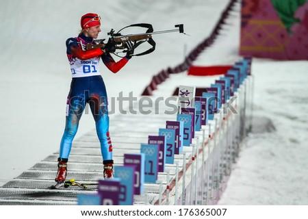 Sochi, RUSSIA - February 9, 2014: Yana ROMANOVA (RUS) at Biathlon Women's 7.5 km Sprint at Sochi 2014 XXII Olympic Winter Games - stock photo