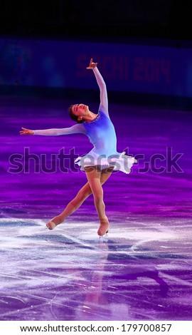 Sochi, RUSSIA - February 22, 2014: Yuna KIM at Figure Skating Exhibition Gala at Sochi 2014 XXII Olympic Winter Games - stock photo