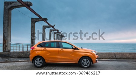 Sochi, Russia January 23, 2016: New Russian Cars LADA XRAY. Test Drive on January 23, 2016 in Sochi, Krasnaya Polyana, Rosa Khutor, Russia - stock photo