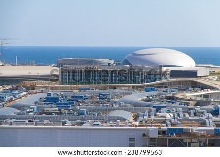 SOCHI, RUSSIA - JULY 26, 2013: Construction of the olympic stadium in Sochi - stock photo