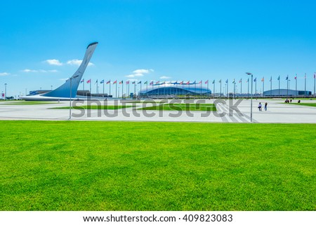 Sochi, Russia, May 11, 2015: View of objects of Olympic park - place of Winter Olympic games 2014. - stock photo