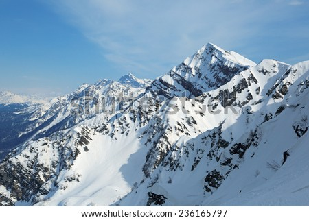 Sochi, Russia, mountain landscape, views of the Aibga Ridge. The ski resort of Krasnaya Polyana - stock photo