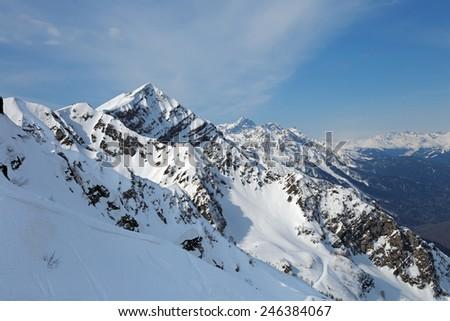 Sochi, Russia, mountain landscape, views of the Aibga Ridge. The ski resort of Krasnaya Polyana - stock photo