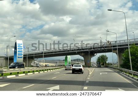 SOCHI, RUSSIA SEPTEMBER, 2013: Road M-27 Sochi Adler, Russia - stock photo