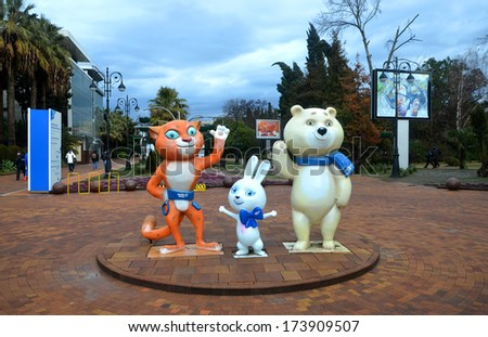 SOCHI, RUSSUA - JAN 29, 2013: Mascots of the Winter Olympic Games 2014: Bunny, Bear and Leopard - on the street Navaginskaya  - stock photo