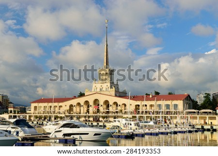 Sochi sea port. Sochi. Russia - stock photo