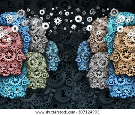 Social business and crowd media internet communication marketing web concept as a group of people made of gears and cogs in a global network connected for a strong cooperation and society technology. - stock photo