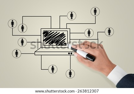 Social. Business man drawing social network - stock photo