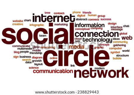 Social circle word cloud concept with network connection related tags - stock photo