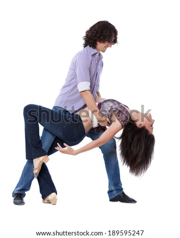 Social dance West Coast Swing. Demonstration of a dip pose. - stock photo