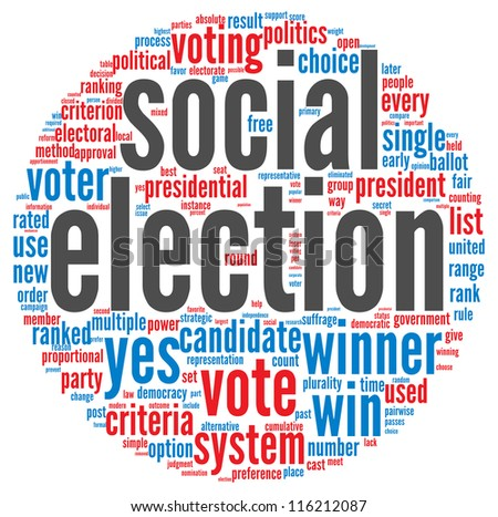 Social election concept in word tag cloud on white background - stock photo
