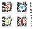 Social icons in labels set with QR codes sign. - stock photo