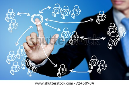 Social interactions of a marketing communications business. - stock photo