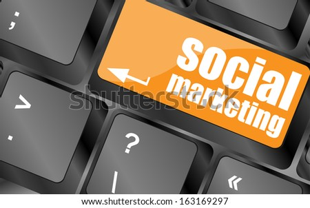 social marketing or internet marketing concepts, with message on enter key of keyboard, raster - stock photo