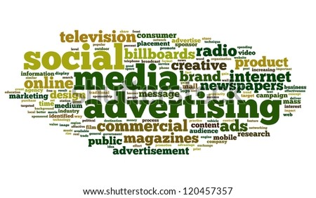 Social Media Advertising concept in tag cloud on white background - stock photo