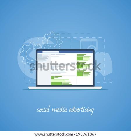 Social media advertising illustration for web - stock photo