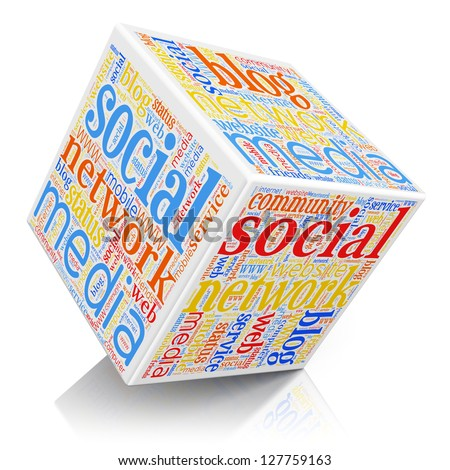Social media and networking concept: cube with technology color tag cloud isolated on white background with reflection effect - stock photo